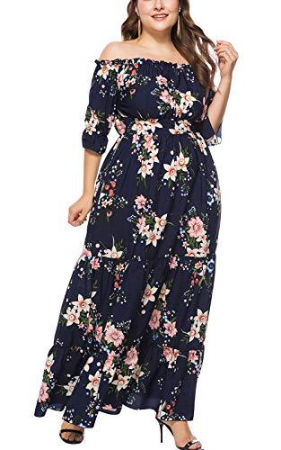 MAGIMODAC Übergröße Kleider Damen Frauen Elegant Off Shoulder Blumen Kleider Cocktailkleid Partykleid Abendkleid Brautkleider Höhe Taille Lang 44 46 48 50 52 54 (Etikett 3XL/EU 48, Blau-Blumen)