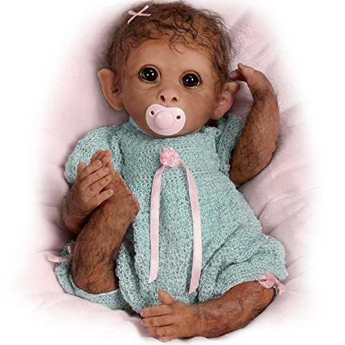 The Ashton-Drake Galleries So Truly Real Weighted And Fully Poseable Baby Monkey Doll By Linda Murray