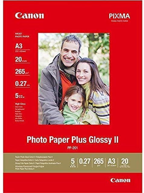 Canon consumible papel fotográfico con brillo plus II PP-201 A3 20 hojas