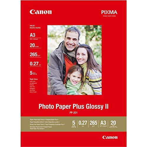 Canon Fotopapier PP-201 glänzend - DIN A3 20 Blatt für Tintenstrahldrucker - PIXMA Drucker (265 g/qm)