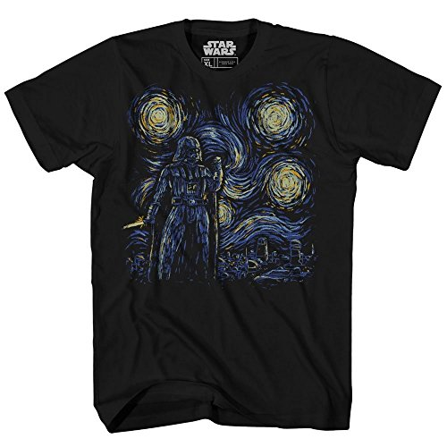 Starry Night Darth Vader Van Gogh Adult Men's Graphic Tee Apparel T-Shirt (Black, Large)