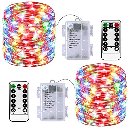 LED Fairy Lights 2 Pack Battery Operated String Lights 10M 100 LED Christmas Lights 8 Modes Waterproof Indoor/Outdoor Firefly Lights Christmas, Party, Holiday, Wedding Bedroom Decor (Multi-Color)