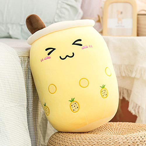 cfdnmoe 24/35/50Cm Cartoon Fruit Bubble Tea Cup Shaped Pillow Real-Life Stuffed Soft Back Cushion Funny Boba Food Girls 35Cm_Brown_Close_Eyes