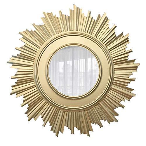 SONGYU Espejo Decorativo, Espejo de Pared con Forma de Flor de Sol de Madera Redonda Europea y Americana, Espejo para Colgar en la Pared de la Entrada del Pasillo, Sala de Estar, baño, 70 cm