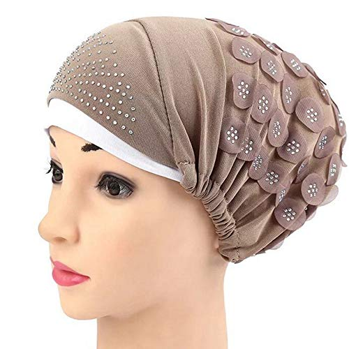 Fineday Women Muslim Stretch Turban Hat Chemo Cap Hair Loss Head Scarf Wrap Hijib Cap, Hat, Clothing Shoes & Accessories (Khaki)