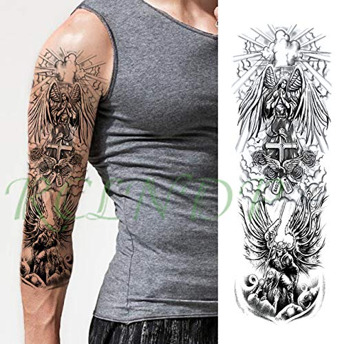 3 piezasPegatina de Tatuaje a Prueba de Agua Eagle Pocket Watch Angel Wings Hand Full Arm Large Tattoo Male Ms