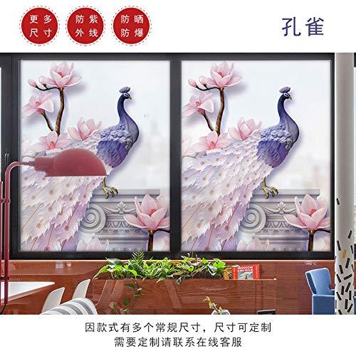 TFOOD raamfolie, raamfolieesthetische bloem, roze, paars, pauw, een stukstatisch mat, opaak, glasdecoratie, zelfklevende uv-bescherming voor keuken, badkamer, woonkamer