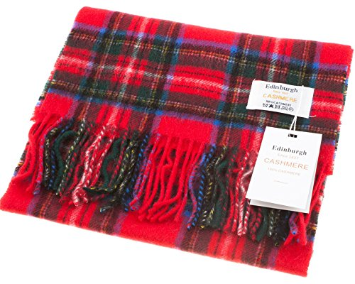 I Luv Ltd Unisex Cashmere Scarf In Stewart Royal Tartan Design 26.5 cm Wide