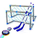 Hover Hockey Set KidsToys, Rechargeable HoverSoccerBall Hockey Game with Led Lights 2 Goals 2 Sticks-Training Soccer Indoor Sports Birthday Gifts for 3 4 5 6 7 8 9 Year Old Boys/Girls