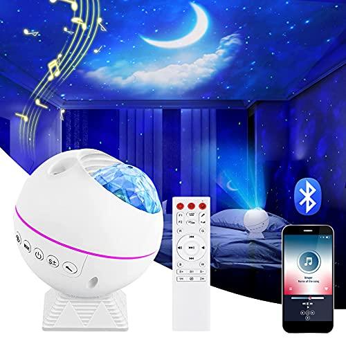 Shayson LED Sternenhimmel Projektor Lampe, Ozeanwellen Projektor Nachtlicht, Ferngesteuertes Nachtlicht, Romantische Atmosphäre Lampe mit Bluetooth Perfekt für Kinder Party, Familientreffen, Auto