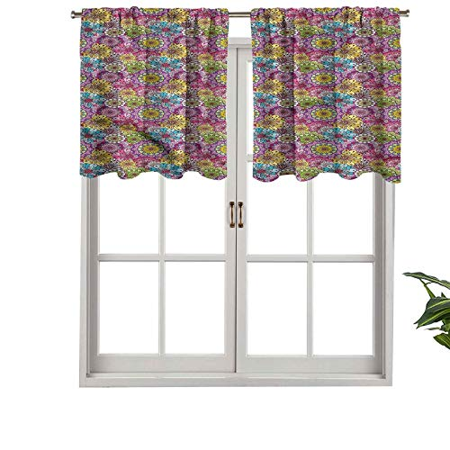 Hiiiman Window Treatments Curtain Tiers Rod Pocket Abstract Spring Blooms, Set of 2, 42'x24' Home Decorative Blackout Panels for Kitchen