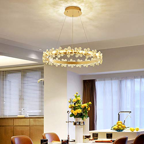 Ceiling light Glamp olden Garland Bubble Crystal Chandelier Restaurant Living Room Dining Room Bedroom Flower Ring Three-color Dimming European Minimalist Ceiling Light (Size : S)