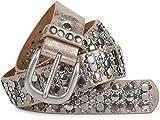 styleBREAKER edler Nietengürtel im Vintage Design, Nieten und Strass, kürzbar, Damen 03010052, Farbe:Antik-Beige, Größe:95cm