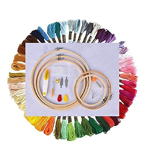 刺しゅうキット 刺繍ツールセット まとめ買い オリジナルセット 刺繍枠5本 50色刺繍糸 刺繍用布2枚 刺繍アクセサリー カラフル DIY 手作り 系抜き 糸通しなど 初心者セット