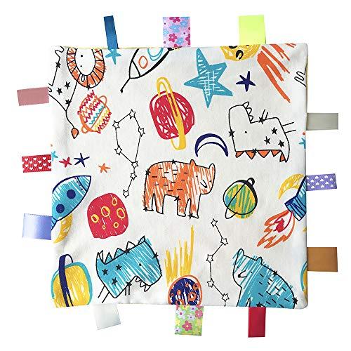 Bunte Taggy Sicherheit Decke, Soft-Touch-Komfort-Decke mit Taggies für Neugeborene und Baby-Jungen, bestes Geschenk Plüschtiere - Gelb