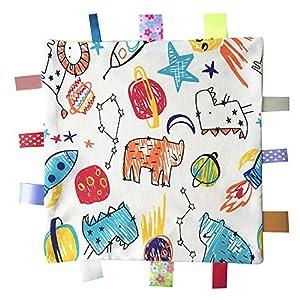 Colorida manta Taggy Seguridad, Manta Soft Touch Confort con Tag para el recién nacido y del muchacho del bebé, el mejor regalo Peluches - Amarillo
