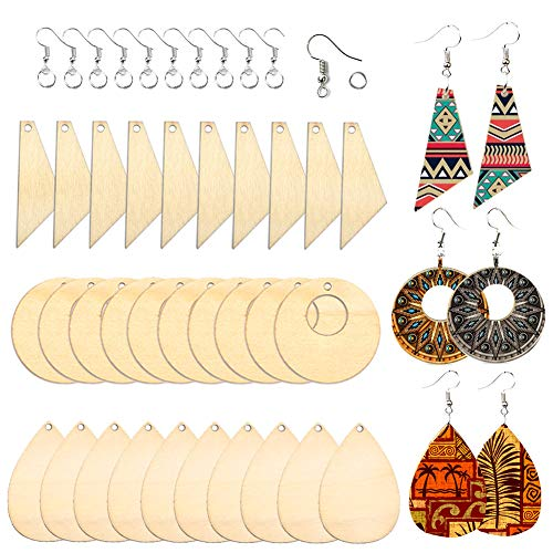FOVERN1 60 Pcs Jewellry Making Kit, DIY Wooden Dangle Earring Making Kit, Natural Unfinished Blank Earring Pendant Wooden Dangle Earring with Earring Hooks and Jump Rings for DIY Craft Jewelry Making