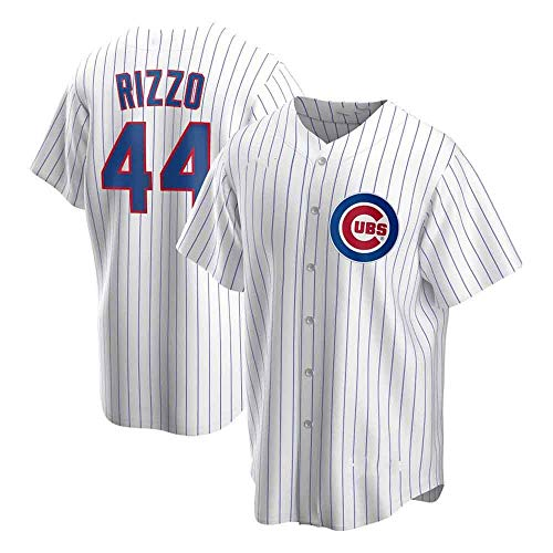 GMRZ MLB T-Shirt für Herren, Baseball Trikot mit Chicago Cubs #44 Rizzo Logo Design Major League Baseball Team Sportswear Fans Jersey bestickt Shirt Top Kurzarm Unisex XXX-Large weiß