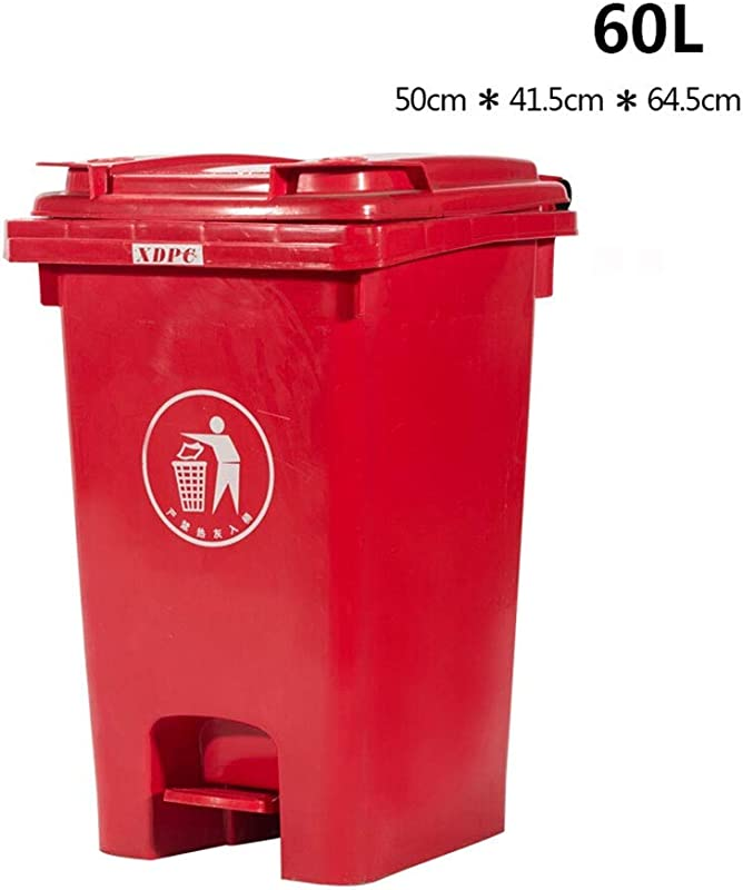 Kffc Big Trash Can Foot Open Cover Can Be Hung On The Car 40 60 Litre Red Size 60 L