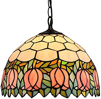 HT 18inch Grape Tiffany Colored Glass Chandelier Living Room