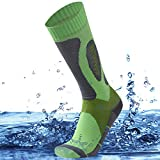 SuMade Unisex 100% Waterproof Breathable Socks, Knee High Cushioned Outdoor Winter Sports Athletic Anti-blister Wicking Hiking Skiing Holiday Socks 1 Pair (Green, Small)