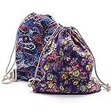 REYOK Bolso con Cordón, Lmpresión de La Moda Cordón Lona Mochila Backpack Deporte Moda Ocio Bolso de Viaje para Hombre Mujer Niños y Adolescentes 2Piezas