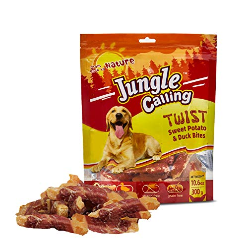 Jungle Calling Golosinas para Perros, Bocadillos De Camote Envueltos En Pato, Bocadillos Masticables Sin Piel, 11 Oz