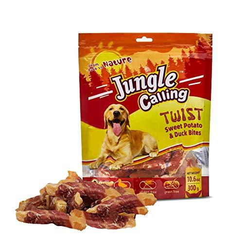 Jungle Calling Trattamenti Per Cani, Snack Di Anatra Avvolti In Un Involucro Di Patate Dolci, Morsi Masticabili Senza Pelle,11oz