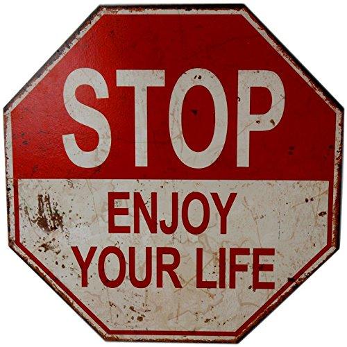 Annastore Schild 40 cm Türschilder - Wanddeko - Do Not Give Up - Do Not Enter - Enjoy Your Life - Go Left (Stop Enjoy Your Life)