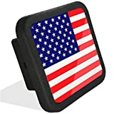 USA US American Flag Trailer Hitch Cover Tube Plug Insert,Black Rubber Hitch Cover (Fits 2 inch Receivers)