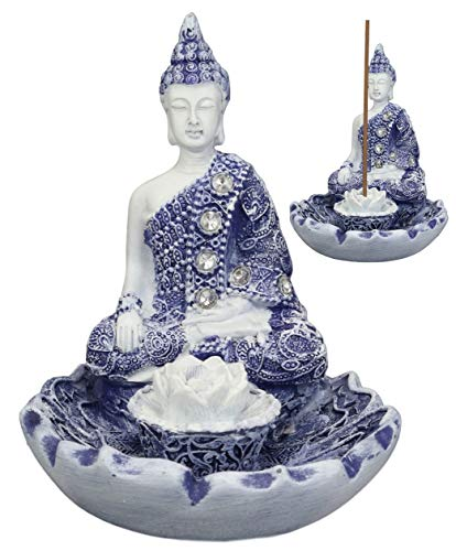 Ebros Gift Bhumisparsha Mudra Buddha Amitabha Meditating by Padma Lotus Flower Incense Holder Burner Figurine in Terracotta Blue and White 4.25' High Buddhist Eastern Enlightenment Feng Shui Decor