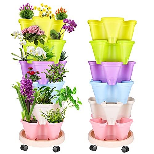 WADEO Maceta tridimensional apilable de múltiples capas para plantas de fresa 6 macetas para balcón, jardín, interior y exterior (colorido)