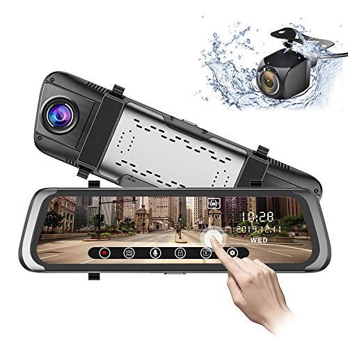 Mirror Dash Cam 10 inch 1080P Full Touch Screen Stream Media Front Rear Dual Lens Dashboard Recorder Waterproof Reversing Camera