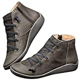 Gibobby Ankle Boots for Women Leather Women's Casual Ankle Booties Cut Out Slip On Low Heel Short Boots Grey