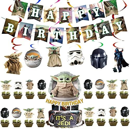 FANDE Juego de Decoración de Fiesta de Cumpleaños, Sombrero de Copa para Tarta de Star Wars con Tema BabyYoda, Decoración de La Casa de Fiesta Decoración de Cupcakes, 32PCS