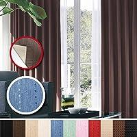 窓美人 センチュリオン 完全遮光 特殊コーティングカーテン 幅100×丈200cm 2枚入り ブルー ストライプ柄 断熱・遮熱・防音 形状記憶付