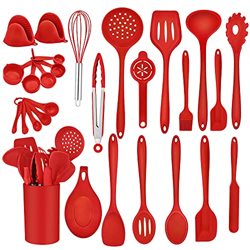 TeamFar Kitchen Utensils, 28 PC Silicone Cooking Baking Utensil Spatula Set, Nonstick Kitchen Gadgets with Holder Spoon Whisk Turner, Heat-Resistant & Non-Stick, Non-Toxic & Easy Clean-Red