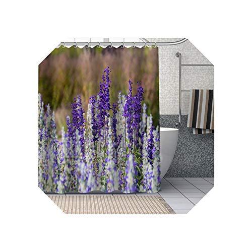Cool-House Kleiner Duschvorhang  Lila Lavendel Blumen Duschvorhänge DIY Badezimmer Vorhang Stoff Waschbares Polyester Für Badewanne Art Decor-15-180x180cm