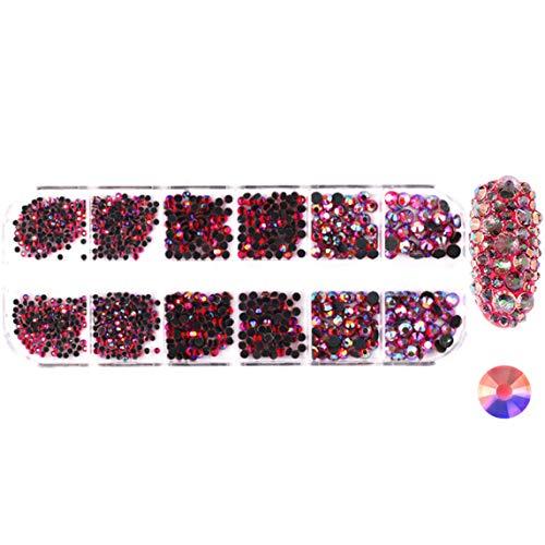 DK-tre Lot de 12 strass à dos plat pour ongles Transparent