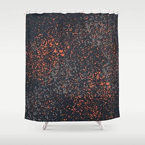 ArthuereBack Navy Duschvorhang Orange & Blau Charcoal Duschvorhang Männer Splatter Paint Abstract Print Duschvorhang Badezimmer Dekor