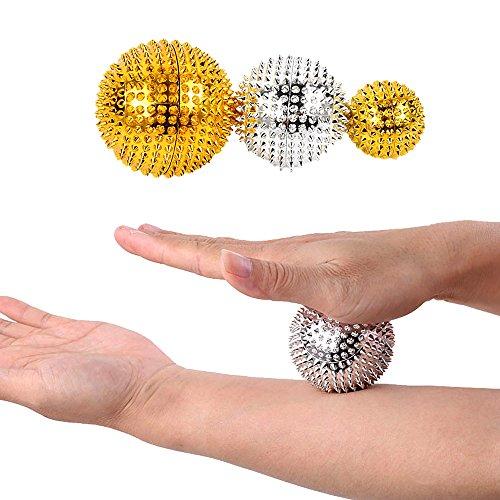 Tcare Massageball für Hand, magnetisch, mit Stacheln, zur Druckentlastung, Triggerpunkt, Handflächen-Akupunktur-Massageball, 1 Paar