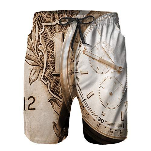 Pantalones Cortos De Playa para Hombres,Concepto de Tiempo financiero con Dinero y Reloj,Pantalones De Chándal De Secado Rápido, Bañador De Verano para Ejercicios Al Aire Libre L