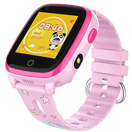 shjjyp Reloj Inteligente NiñO GPS Y Llamadas Sumergible Smartwatch Llamadas Sim Impermeable Y GPS Reloj Inteligente para NiñOs NiñAs Mujer Impermeable Ip67 Deportivo Smartwatch con PodóMetro,Rosado