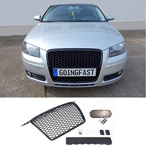 goingfast 1122901 Waben- Gitter- Kühler- Sport- Front- Rippen- Grill ohne Emblem Schwarz Glanz Eintragungsfrei