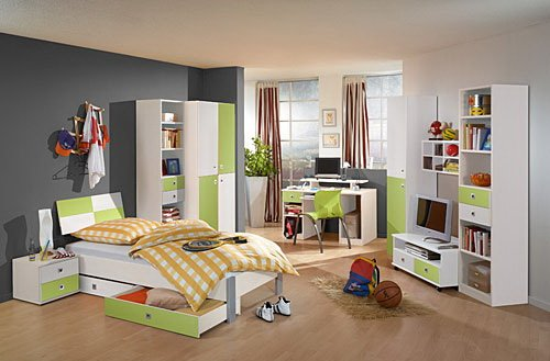 lifestyle4living Jugendzimmer komplett, Set Mädchen, Jungen in Weiß/Apfel, 2-TRG. Schrank, Regalelement, Bett 90x200 cm, Bettschubästen-Set, Nachtschrank