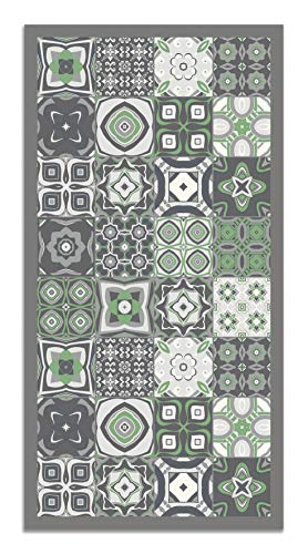 Panorama Tappeto Vinile Idraulico Piastrelle Verde 40 x 80 cm - Tappeto da Cucina Piastrelle Antiscivolo - Tappeto Moderno Salotto - Tappeto Lavabile Ignifugo - Tappeto Grande - Tappeto PVC