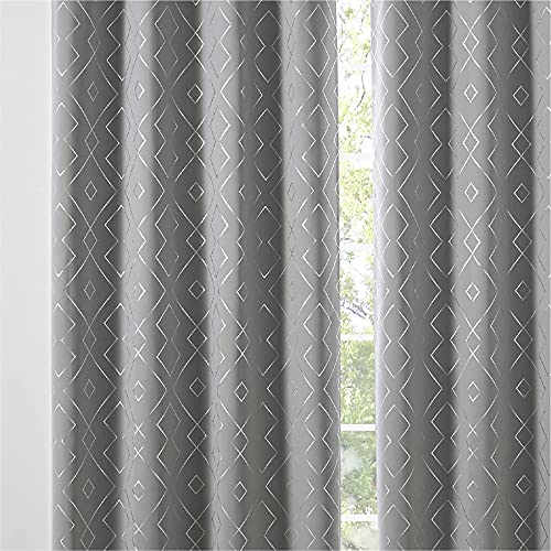 Bedsure Modern Patterned Blackout Curtains for Living Room - Grey Rhombus Printed Curtains 84 inch Length 2 Panels Set, Thermal Insulated Curtains with Grommets, 52x84 inches