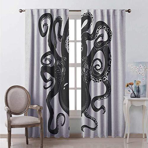 Octopus - Cortinas de bolsillo en forma de barra para sala de estar, diseño de pulpo y reducción de ruido, color negro y gris