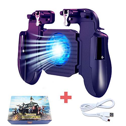 BESTZY PUBG Mobile Game Controller [con Ventilador de Enfriamiento] - Mando Joystick Movil Gamepad Gatillos para Movil PUBG, Controlador Móvil para Android y iOS de 4.7 a 6.5 Pulgadas