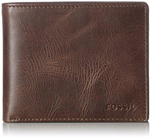 Fossil Herren Derrick Geldbörse, Braun (Dark Brown), 2.5x9.5x11.4 cm